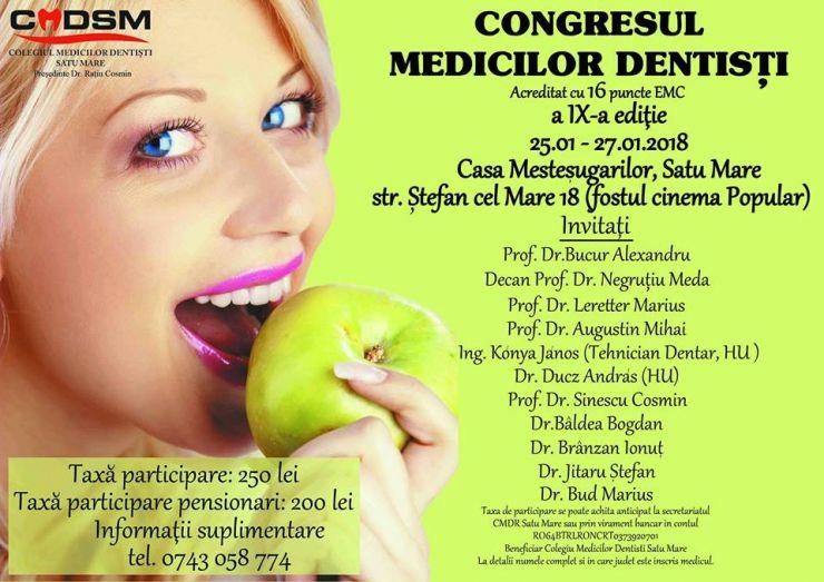 A noua ediţie a Congresului Medicilor Dentiști, la Satu Mare