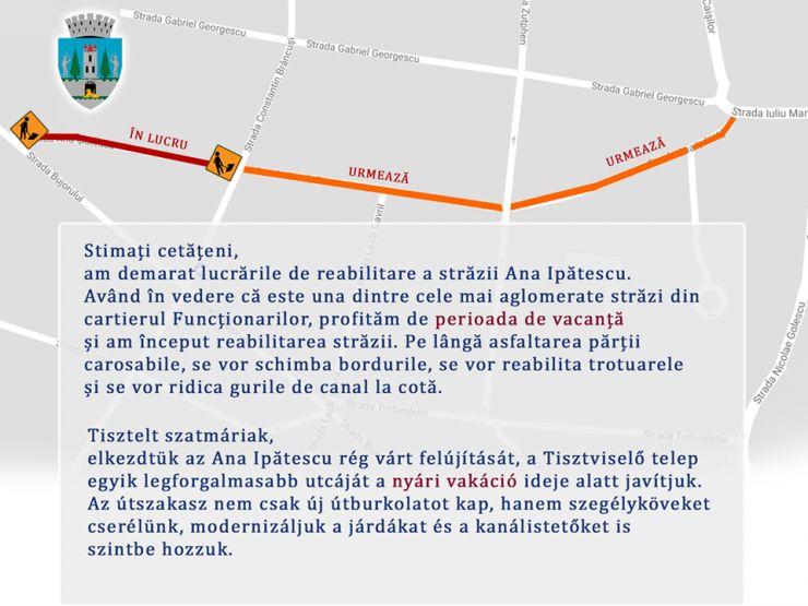 Strada Ana Ipătescu a intrat în reabilitare