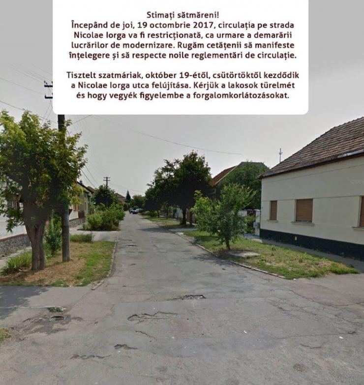 Circulația pe strada Nicolae Iorga, restricționată