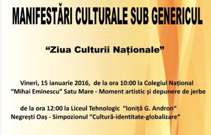 """Manifestări culturale sub genericul """"Ziua Culturii Naționale"""""""