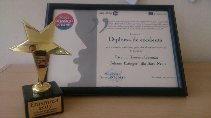 """Diplomă de excelență pentru Liceul Teoretic German """"Johann Ettinger"""""""