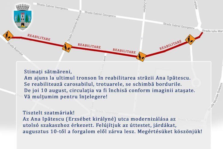 Se închide strada Ana Ipătescu