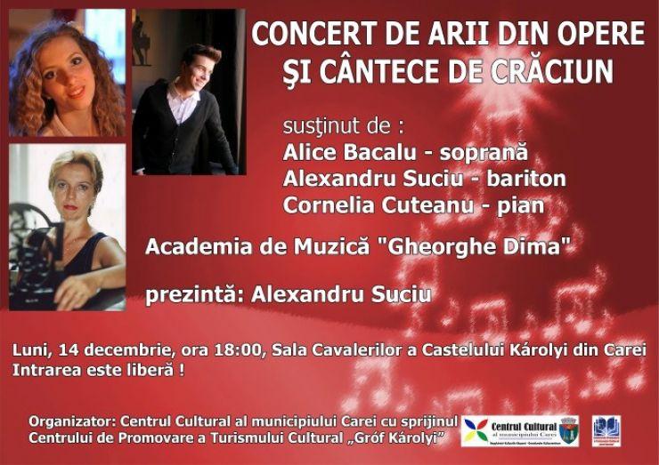 Concert de arii din opere și cântece de Crăciun, la Castelul din Carei