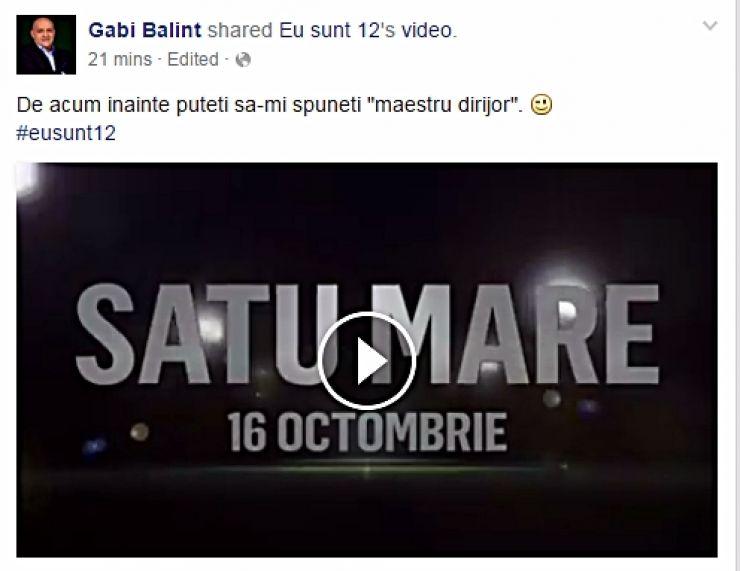 "Fotbal. Gabi Balint a ajuns la Satu Mare cu campania  ""Eu sunt 12"""