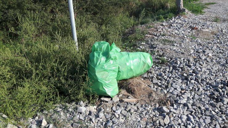 Saci cu gunoi abandonați pe marginea drumului