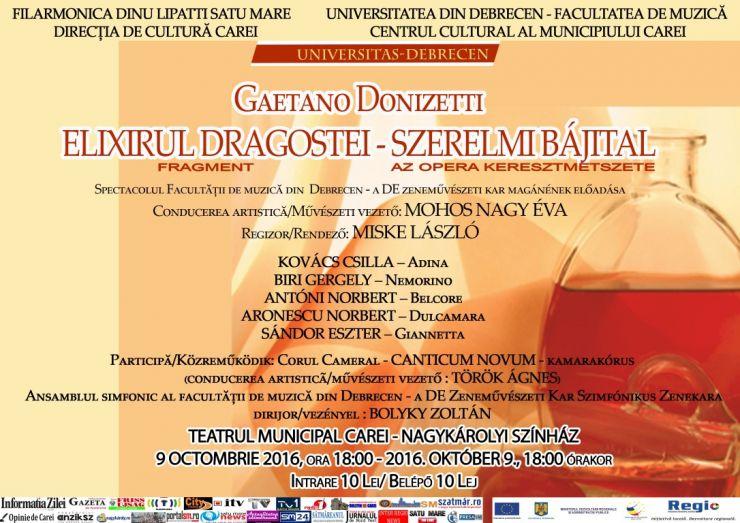 Elixirul dragostei de Gaetano Donizetti, un spectacol al Facultății de Muzică din Debrecen
