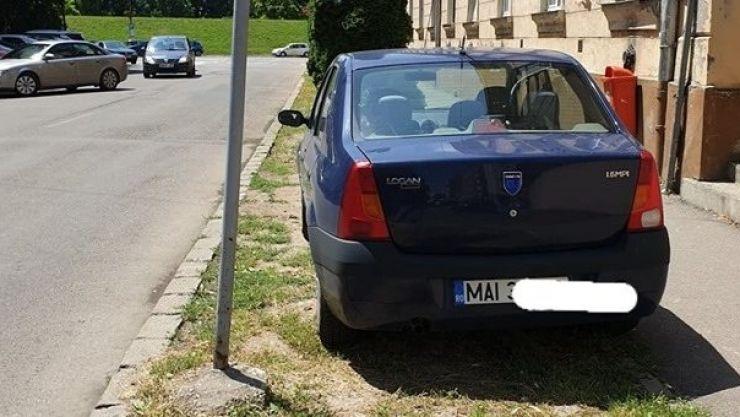 Mașină aparținând MAI, pe spațiul verde din municipiul Satu Mare