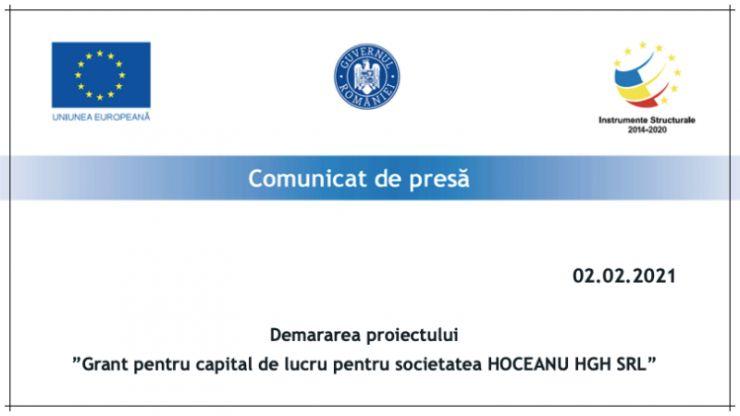 """Anunț privind demararea proiectului  """"Grant pentru capital de lucru pentru societatea HOCEANU HGH SRL"""""""