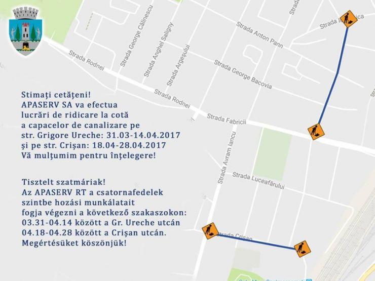 Lucrări pe străzile Grigore Ureche și Crișan din municipiu