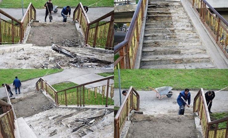 A început reabilitarea scărilor de la Podul Decebal