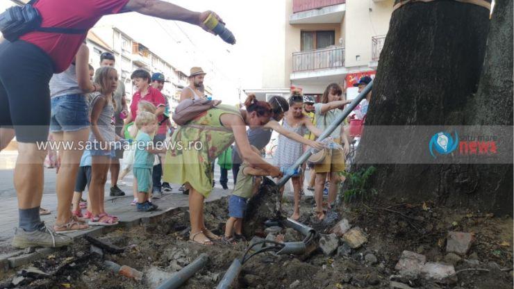 """Ultimul copac de pe Brătianu care a rămas """"pe picioare"""", udat de salvatori"""