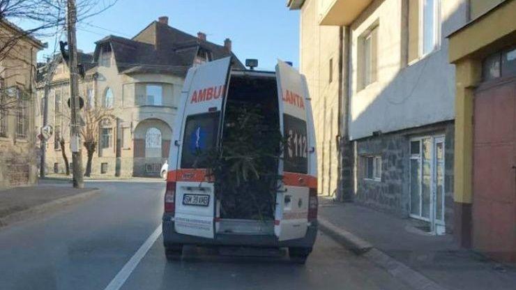 Anchetă la Satu Mare după ce o ambulanţă pentru dializaţi a transportat un brad de Crăciun