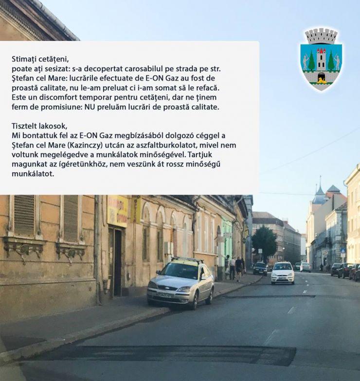 Primăria Satu Mare: Lucrările efectuate de E-ON Gaz pe strada Ștefan cel Mare, în bătaie de joc!
