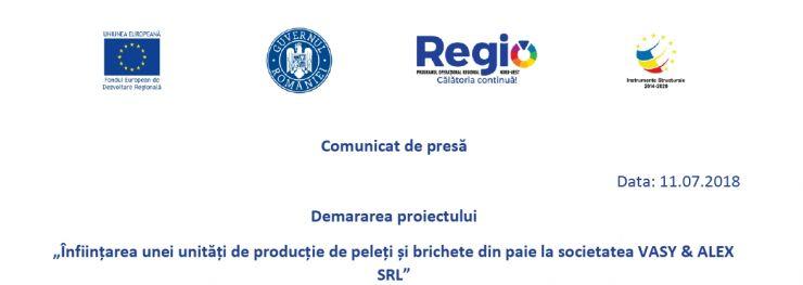 """Anunț privind demararea proiectului """"Înființarea unei unități de producție de peleți și brichete din paie la societatea VASY & ALEX SRL"""""""